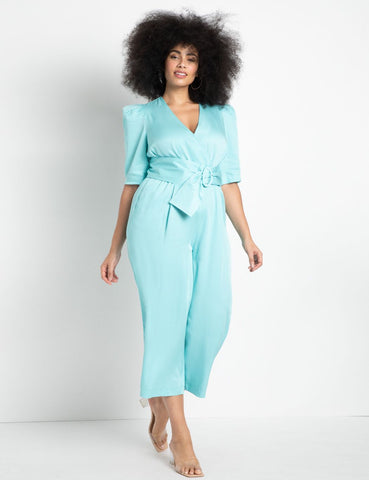 Sculpted Sleeve Cropped Jumpsuit in Angel Blue