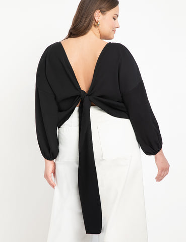 Tie Back Top in Totally Black