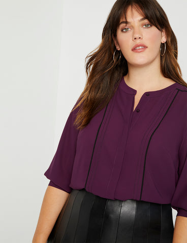 Contrast Piped Blouse in Potent Purple