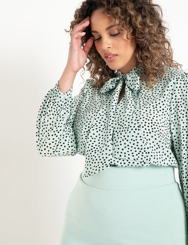 Tie Neck Blouse in Shadow Dot Mint