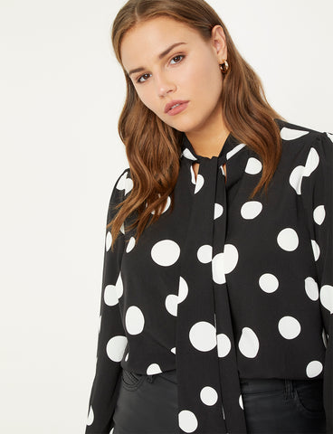 Tie Neck Blouse in Black Ground With White Polka Dot