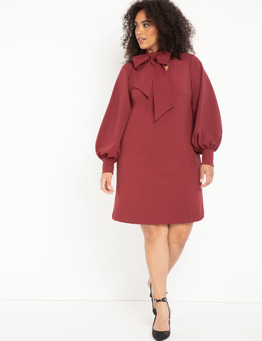Tie Neck Cuff Sleeve Dress in Cabernet