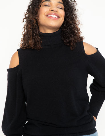 Cold Shoulder Turtleneck Sweater in Totally Black