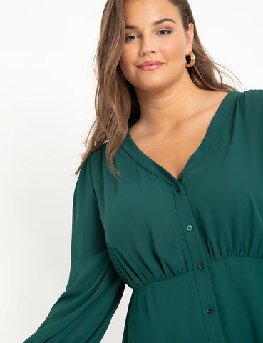 V-Neck Peplum Top in Dark Green