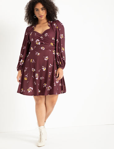 Puff Sleeve Sweetheart Dress in Floral