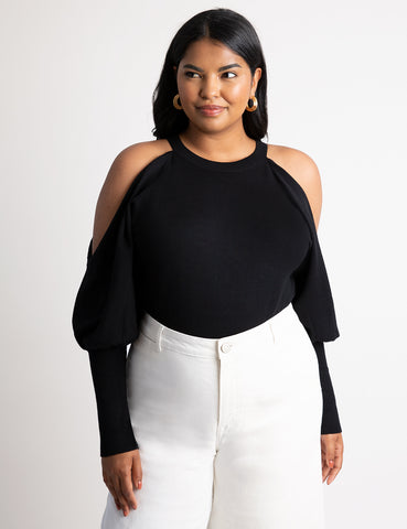 Cutout Sleeve Sweater in Totally Black