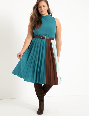 Pleated Colorblock Dress in Evening Sea / Melted Chocolate / Cloud Blue