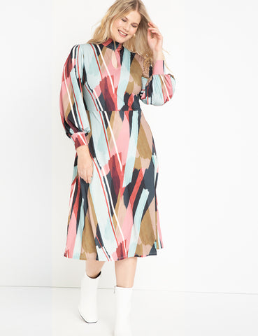 A-Line Dress With Puff Sleeves in Print