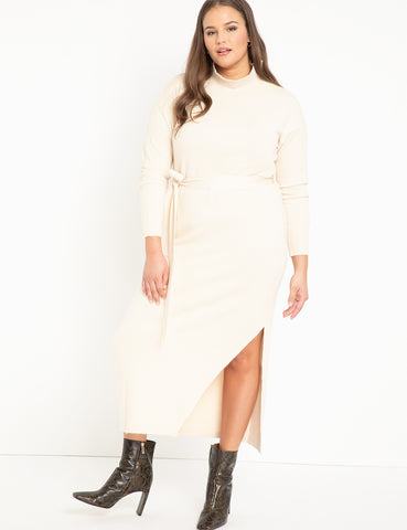 Funnel Neck Long Sweater Dress in Off White