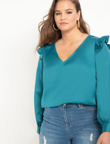 Ruffle V-Neck Blouse in Evening Sea