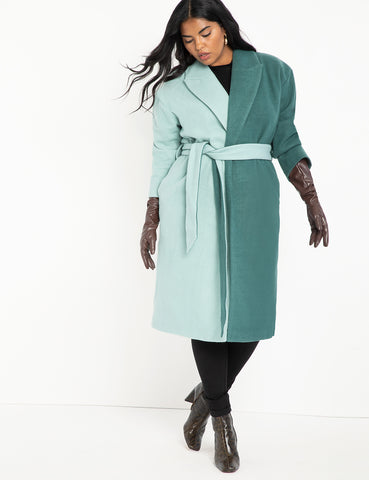 Colorblocked Robe Coat in Blue Surf + Evening Sea
