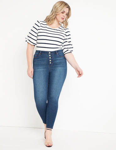 Peach Lift Button Fly Jean in Dark Wash