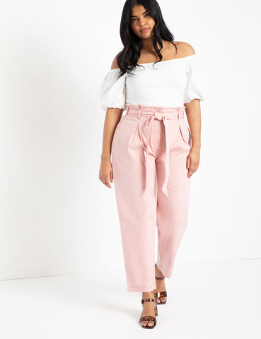 Paperbag Waist Relaxed Jean in Cupid