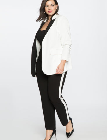 Slim Trouser With Side Stripe in Black & White