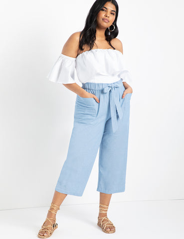 Pull On Cropped Wide Leg Trouser in Light Blue Heather