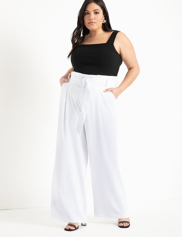 Paper Bag Wide Leg Flare Pant in White