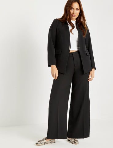 Wide Leg Venice Crepe Trouser in Black