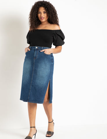 Denim Midi Skirt with Side Slits in Medium Wash