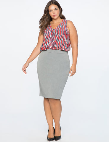 Premier Bi-Stretch Pencil Skirt in Heather Grey