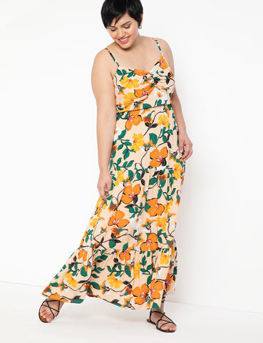 Twist Front Bodice Maxi Dress in Tropical Popical