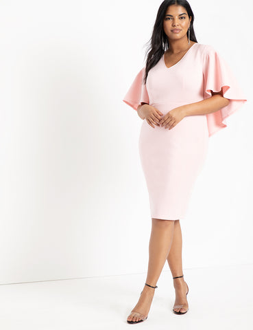 Ruffle Cape Sleeve Bodycon Dress in Blush