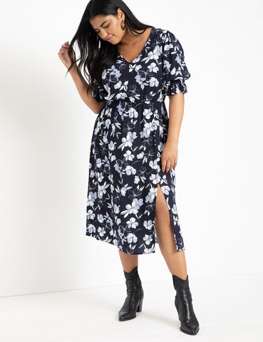 Puff Sleeve Pintuck Dress in Flor Ever And Always