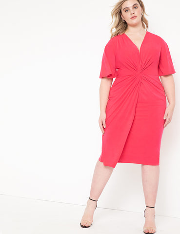 Twist Front Midi Dress in Cherry Blossom