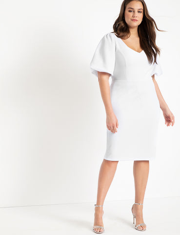 Puff Sleeve Bodycon Dress in True White