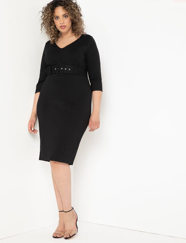 Work Dress With Belt in Black