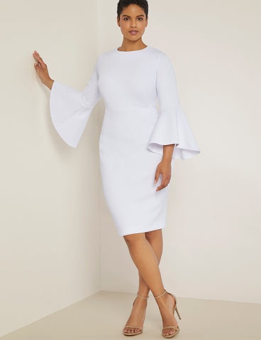 Flare Sleeve Scuba Dress in White