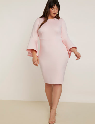 Flare Sleeve Scuba Dress in Blush