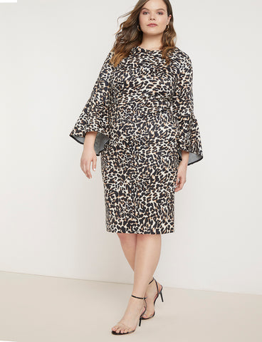 Flare Sleeve Scuba Dress in Speckled