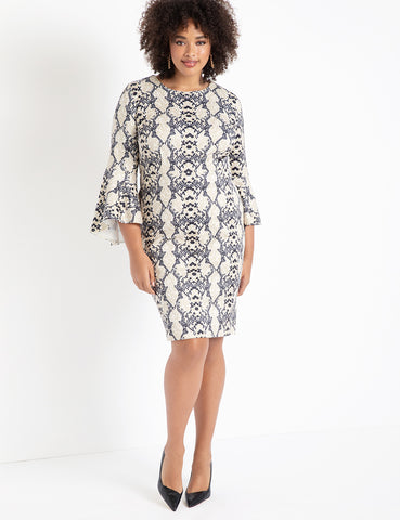 Flare Sleeve Scuba Dress in Slithering Serpentine
