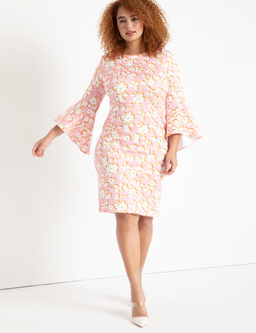 Flare Sleeve Scuba Dress in Bashful Blooms