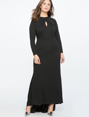 Keyhole Neckline Gown in Totally Black