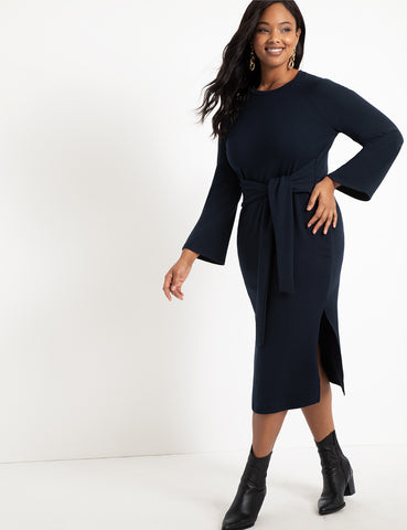 Tie Waist Knit Dress in Navy