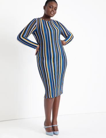 Knit Bodycon Dress in Blue & Yellow Stripes