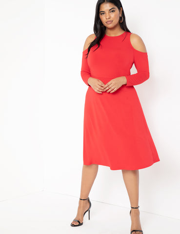 Shoulder Cut Out Dress in Tango Red