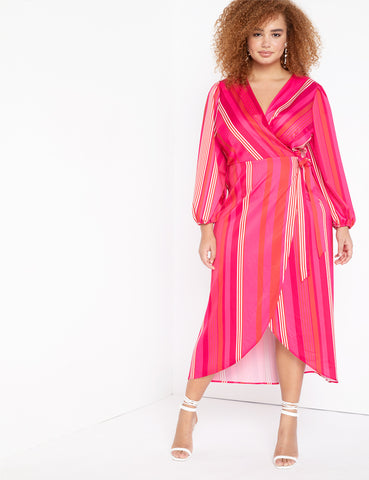 Maxi Striped Wrap Dress in That's Amore