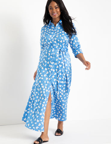 Printed Maxi Shirtdress in Easy Breezy Blue