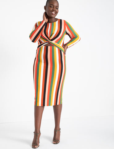 Twist Front Bodycon Dress in Wanderlust Stripe