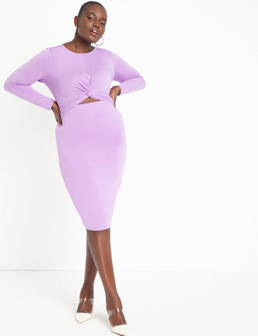 Twist Front Bodycon Dress in English Lavender