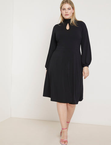 Keyhole Fit & Flare Dress in Totally Black