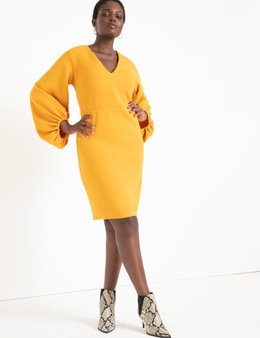 Textured Balloon Sleeve Dress in Yellow