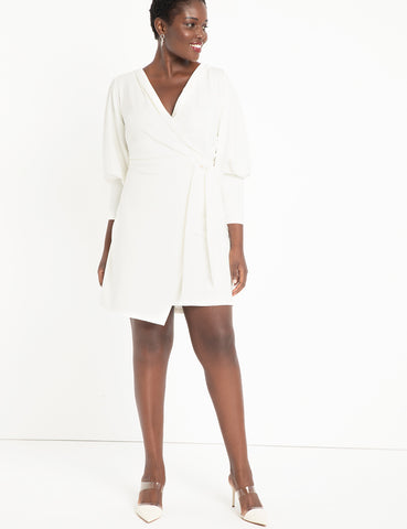 Wrap Dress with Puff Sleeves in Soft White