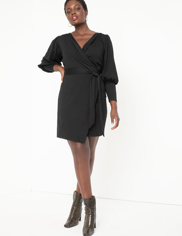 Wrap Dress with Puff Sleeves in Black