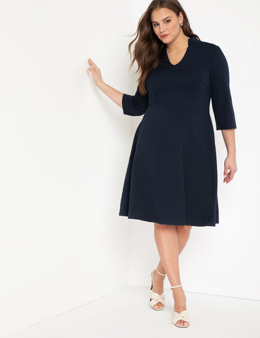 V-Neck A-Line Dress With 3/4 Sleeve in Sky Captain