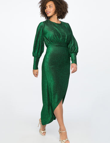 Sparkle Maxi Dress With Wrap Skirt in Green