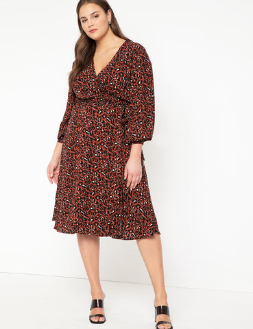 Long Sleeve Wrap Dress With Tie in Speckled Cheetah