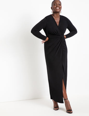 Twist Front Long Sleeve Gown in Black